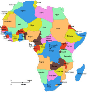 map of AFrica, African countries, continent of AFrica